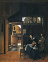 Pieter de Hooch A Woman with a Young Boy Preparing for School