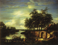 Jacob van Ruisdael River Landscape with the Entrance to a Vault