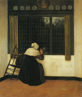 Jacobus Vrel Woman at a window, waving at a girl