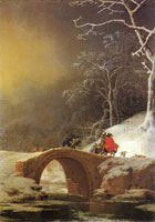 Jan Asselijn Winter landscape with huntsmen on a bridge