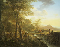 Jan Both Italian landscape with draughtsman