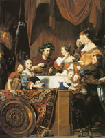Jan de Bray Banquet of Mark Antony and Cleopatra - Family Portrait with Salomon de Bray and Anna Westerbaen