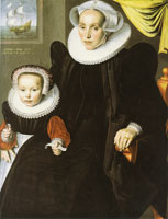 Jan Claesz - Portrait of Lysbeth Walichsdr and her Daughter Elisabeth