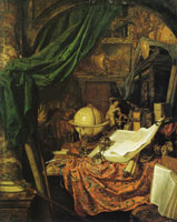 Jan van der Heyden Still Life with Globe, Books, Sculpture, and Other Objects