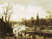 Jan van Goyen Skaters near a Village