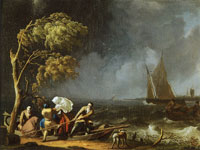 Ludolf Backhuysen Ferry in a storm