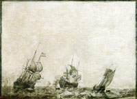 Ludolf Backhuysen Three ships at a stormy sea