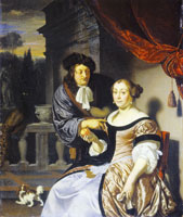 Frans van Mieris the Elder Couple standing on a flight of steps