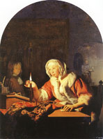 Frans van Mieris the Elder A woman sealing a letter by candlelight