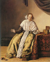 Jan Miense Molenaer A young woman seated by a table