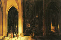Peter Neeffs Interior of a church at night