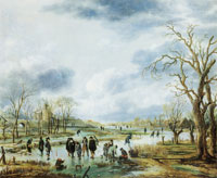 Aert van der Neer Scene on the ice outside the townwalls