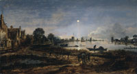 Aert van der Neer River view by moonlight