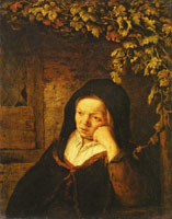Adriaen van Ostade Old Woman Seated under a Vine Pergola