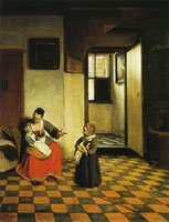 Pieter de Hooch A Woman with a Baby in her Lap and a Small Child
