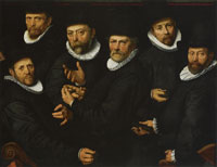 attributed to Pieter Pietersz. Portrait of the Six Syndics of the Amsterdam Clothmakers Guild