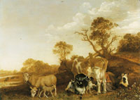 Paulus Potter Landscape with cattle and milkmaid