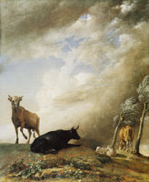 Paulus Potter Cattle and sheep in a stormy landscape