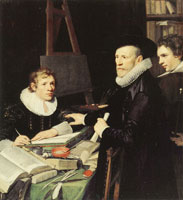 Jan van Ravesteyn Portrait of Pieter van Veen with his Son and Secretary