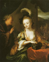 Godfried Schalcken Old woman with a girl