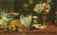 Frans Snyders Still life with small game and fruits