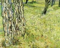 Vincent van Gogh Tree trunks in the grass