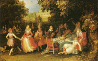 David Vinckboons Elegant Company in the Open Air