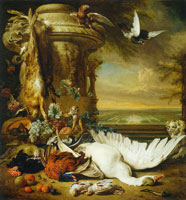 Jan Weenix A monkey and a dog beside dead game and fruits