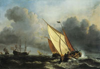 Willem van de Velde the Younger - Ships at a stormy sea