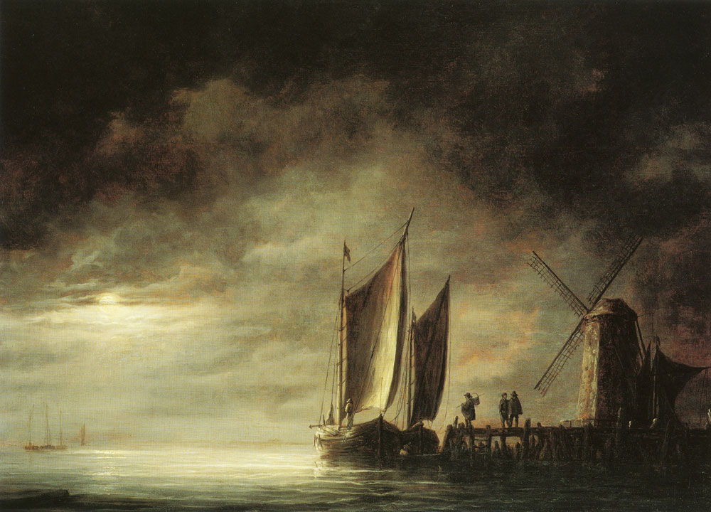 Aelbert Cuyp - Dordrecht harbor by moonlight