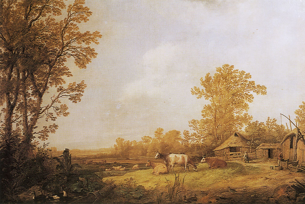 Aelbert Cuyp - A farm with cottages and animals