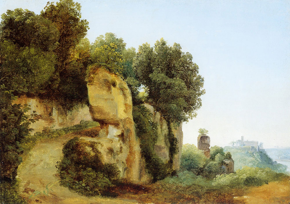 Antonie Sminck Pitloo - View of the Aventine hill from the Palatine in Rome