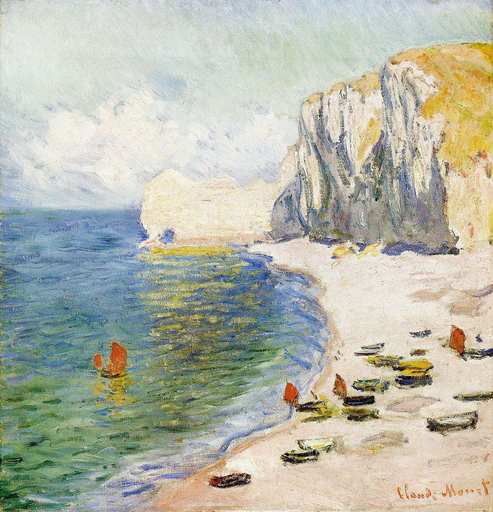Claude Monet - Etretat, the beach and the eastern rock arch