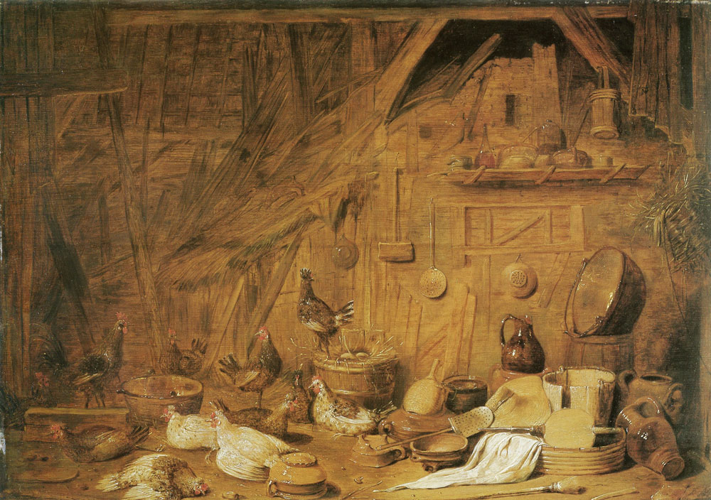 Francois Ryckhals - Interior of a stable with poultry