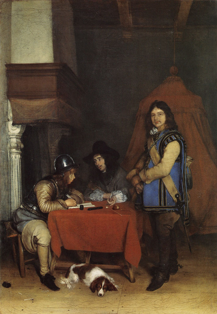 Gerard ter Borch - Officer dictating a letter while a trumpeter waits