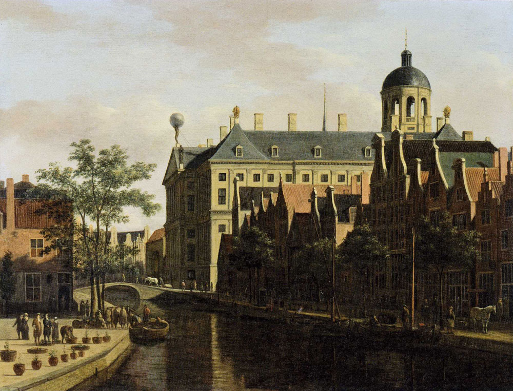 Gerrit Berckheyde - The Nieuwezijds Voorburgwal with the Town Hall in Amsterdam