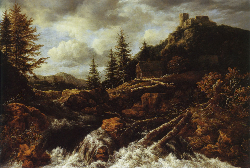 Jacob van Ruisdael - Waterfall in a Mountainous Landscape with a Ruined Castle