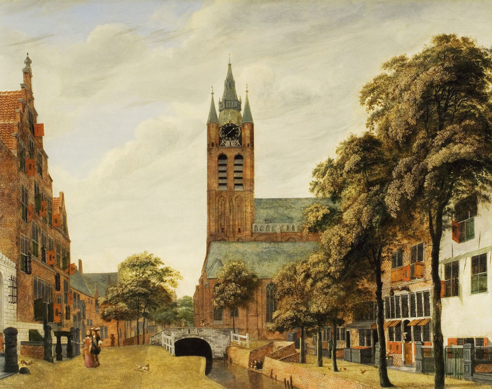 Jan van der Heyden - View of the Oude Delft Canal with the Oude Kerk, Delft