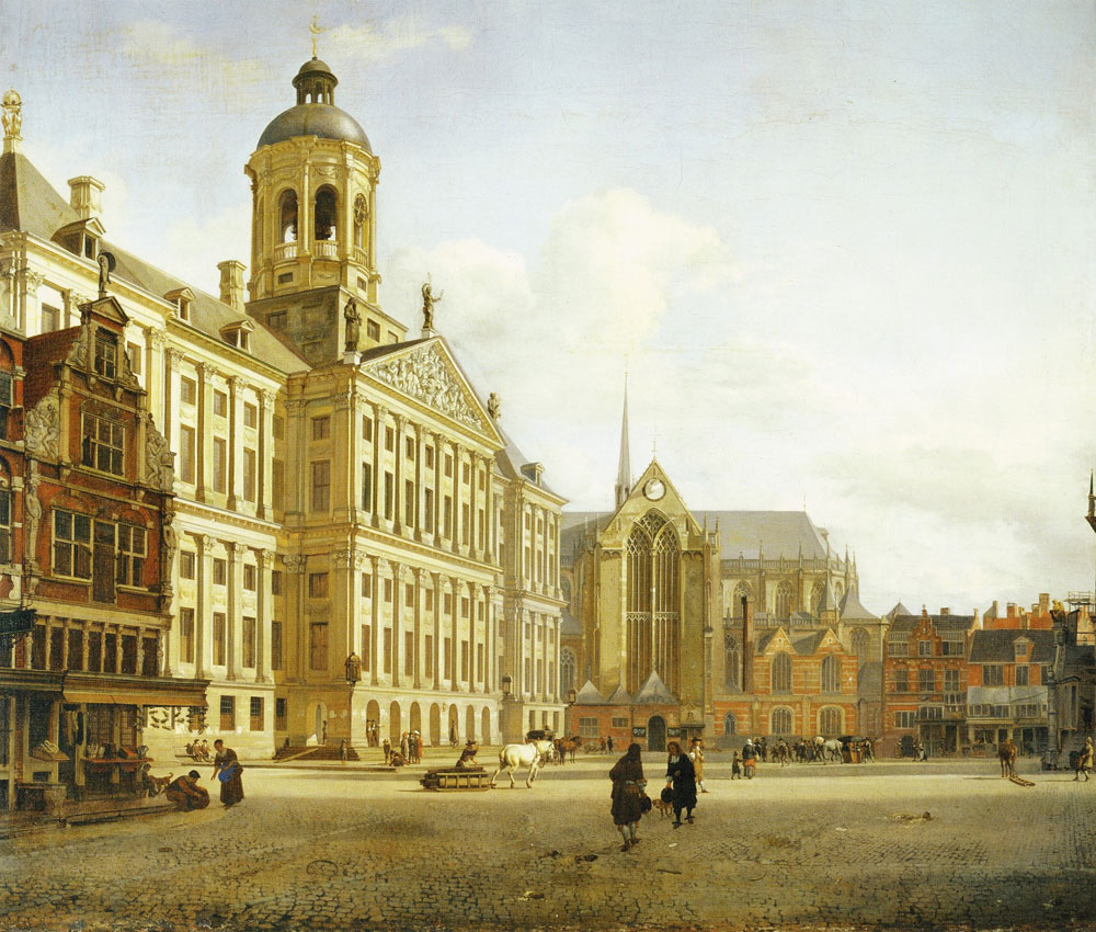 Jan van der Heyden - View of the Town Hall in Amsterdam with the Dam