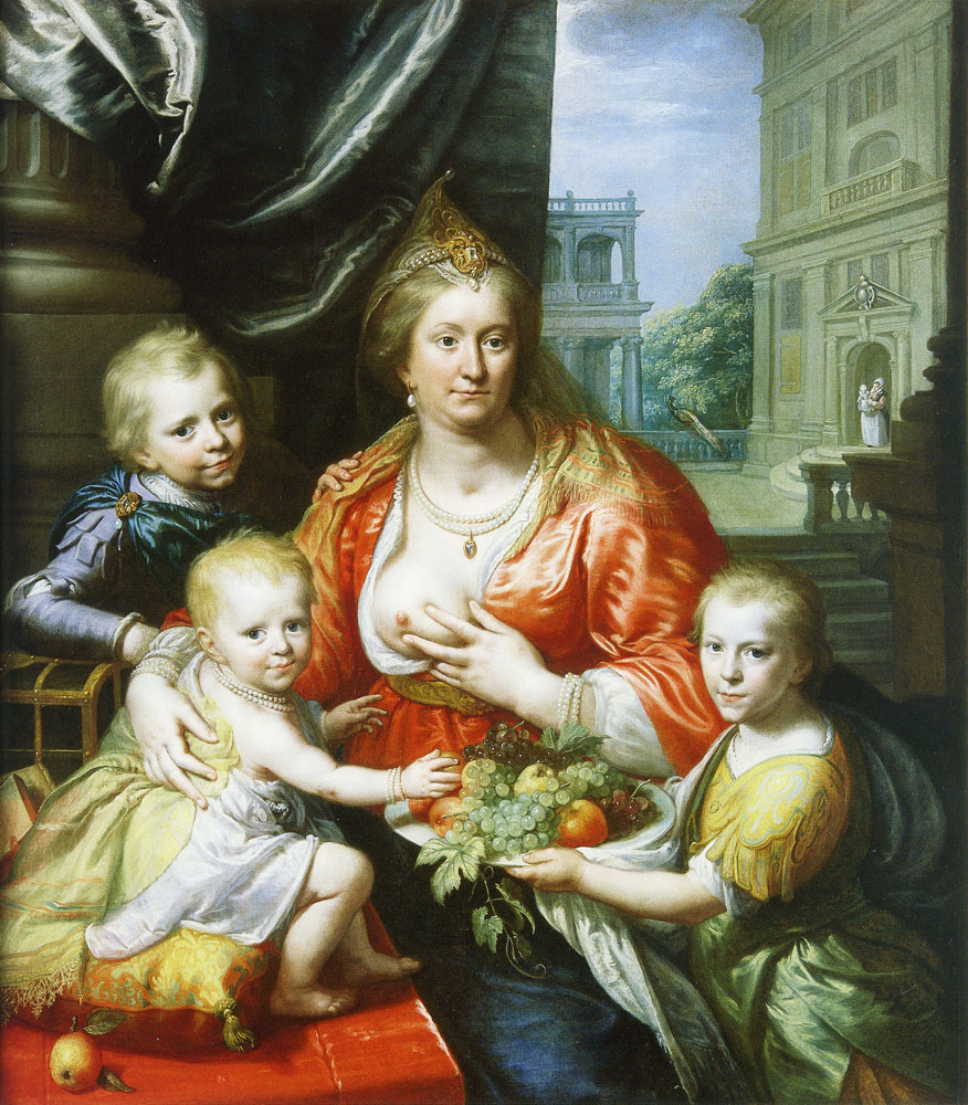 Paulus Moreelse - Portrait of Sophia Hedwig, Countess of Nassau-Dietz, as Charity with her Children