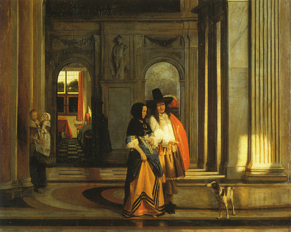 Pieter de Hooch - A Couple Walking in the Citizens' Hall of the Amsterdam Town Hall