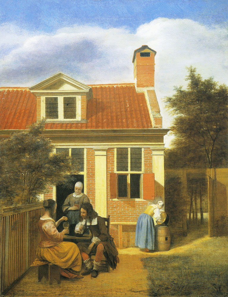 Pieter de Hooch - A Seated Couple with a Standing Woman in a Garden