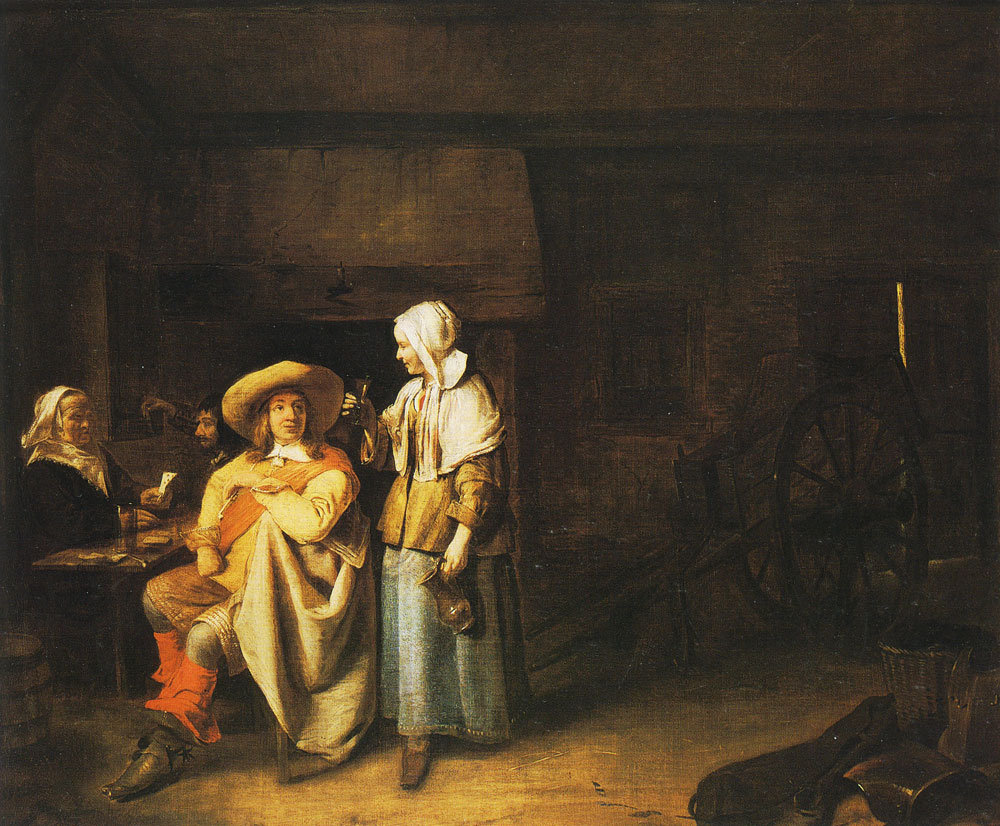 Pieter de Hooch - Soldier and Serving Woman with Card Players