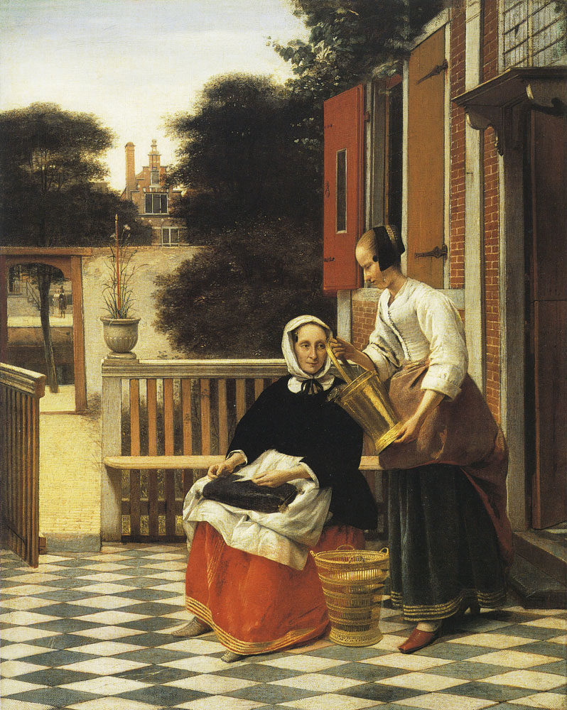 Pieter de Hooch - Woman and Maidservant in a Courtyard