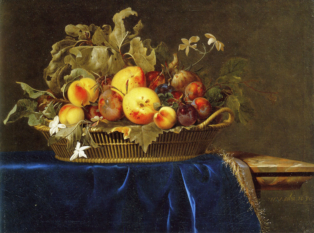 Willem van Aelst - Still life with a basket of fruit on a marble ledge