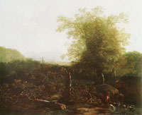 Adam Pijnacker Landscape with trees and a ford