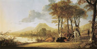 Aelbert Cuyp River landscape with horseman and peasants