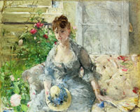 Berthe Morisot Young Woman Seated on a Sofa