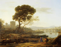 Claude Lorrain Landscape near Rome with a view of the Ponte Molle