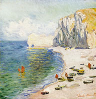Claude Monet Etretat, the beach and the eastern rock arch